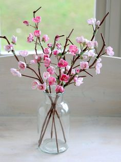 Paper Blossom with handmade blossom stems in pink. #paperflowers #blossom #paperblossom #cherryblossom #sakura Cherry Blossom Flowers, Paper Tree, Pink Paper, Flower Making, Artificial Flowers, Pale Pink, Paper Flowers, Glass Vase, Eco Friendly