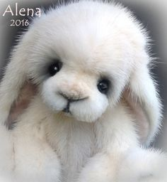 For sale now: This realistic lop eared bunny rabbit is for sale on ebay, 3 day auction.  She is completely hand sewn of real mink fur from a recycled vintage coat by Published Teddy Bear Artist Jenea Ivey  #collectible #teddybear #bunny #handmade #idaho #idahoartist #bearsbyjenea