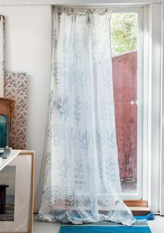 Strawberry /& Blue Cornflower Dollhouse Double Curtains