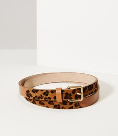 $29.99 LOFT Primary Image of Leopard Print Haircalf Leather Belt