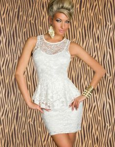 dffd5ff8e9 Good Quality Sleeveless White Lace Peplum Dress Night Club Wear