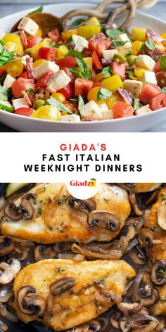 Make the weeknights easier with these fast Italian dinners! There's a time and place for laborious and time-intensive dinners, but for most general weeknights, it's the time for something quick. Enter these fast Italian dinners that all take 30 minutes or less to whip up from start to finish! Giada Recipes, Pasta Recipes, Yummy Recipes, Dinner Recipes, Healthy Recipes, Easy Weeknight Dinners, Quick Easy Meals, Giada Cooking, Recipes