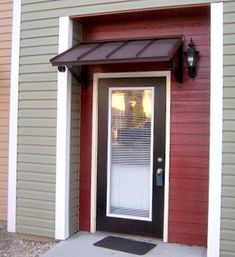 Door Awnings – Design Your Awning Metal Awnings For Windows, Aluminum Awnings, Window Awnings, Front Door Awning, Front Door Canopy, Door Overhang, Window Canopy, Front Entry, Modern Exterior Doors