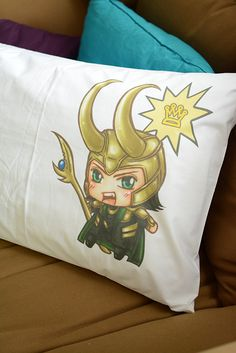 Loki Chibi kneel before me on pillow cover 2030 by chibiQcute, $22.00