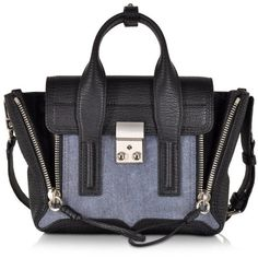 3.1 Phillip Lim Handbags Denim Black Pashli Mini Satchel ($680) ❤ liked on Polyvore featuring bags, handbags, shoulder strap purses, black handbags, black satchel handbag, mini pouch and mini satchel handbags