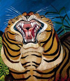 Antonio Ligabue, Testa di tigre, 1955-1956, olio su tavola