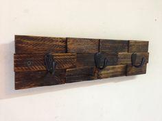 Rustic wall mount key rack, entryway storage rustic key holder, dog leash holder, key hooks by Treetop Woodworks