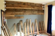 Dishfunctional Designs: God Save The Pallet! Reclaimed Pallets Revamped Part II Pallet wall how-to. I'd like to do this in the basement. Pallet Projects, Home Projects, Pallet Ideas, Pallet Crafts, Diy Crafts, Diy Pallet Wall, Pallet Walls, Pallet Boards, Wood Boards