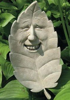 Cast Stone Sammy Shade Tree Leaf Face Plaque   Concrete