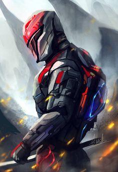 Futuristic samurai in a lost planet. Futuristic Samurai, Futuristic Armour, Futuristic Art, Robot Concept Art, Armor Concept, Concept Cars, Arte Robot, Robot Art, Fantasy Armor