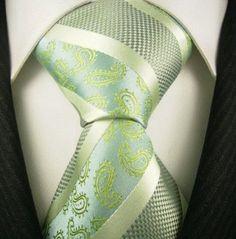 Neckties By Scott Allan, 100% Woven Sage Green Paisley Tie