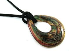 Multicolor Glass Murano Pendant Teardrop Necklace Black Leather Handmade With Gift Box Thaistyle94. $17.50. If you buy more my items you'll save shipping cost.(Shipping cost per shipment.). Handmade and comfort Wear.. Pendant Size : 1.50 x 2.00 inches. Material : Black Leather (Necklace) , Glass (Pendant). Necklace Length : 8.50 inches (Lobster clasps)