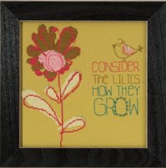 """AW305102 - Consider the Lilies - Kit Includes: Beads, fabric , floss, needles, chart and instructions.  8"""" x 8"""" Mill Hill frame GBFRM21 sold separately Size: 6.75"""" x 7.5"""""""