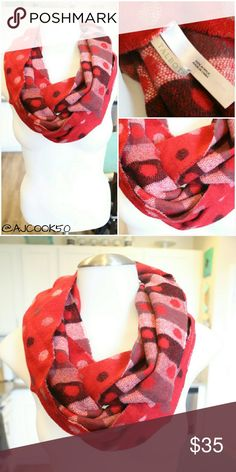 Talbots Red Polka Dot and Striped Infinity Scarf This cozy and soft Talbots infinity scarf features double sided print. One side red with polka dots and the other side striped with multi colored polka dots Material:100% Acrylic  No signs of wear and tear ??Bundle and save 10% ??Free gift with purchase over $20 Talbots Accessories Scarves & Wraps