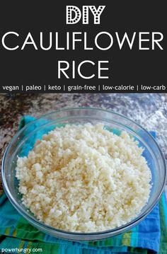 How to Make Cauliflower Rice {grain-free, keto, paleo, vegan} - Vegan Cauliflower Making Cauliflower Rice, How To Make Cauliflower, Vegan Cauliflower, Califlower Rice, Carrot Recipes, Healthy Recipes, Rice Recipes, Keto Recipes, Paleo Vegan