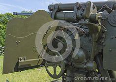 Old second world war artillery weapon in aviation museum , Krakow. Poland