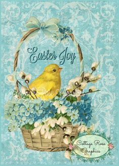 Vintage EASTER chick in a basket forget me by CottageRoseGraphics