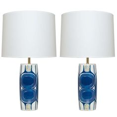 Pair of Danish Mid Century Modern Porcelain Lamps Designed by Inge-Lise Koefoed