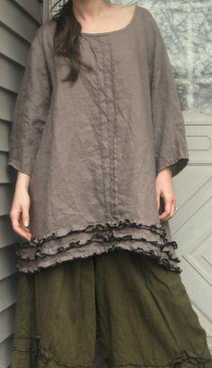 Mocha Linen Miniruffle Shirt XL