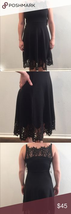 NWT Free People Ponte Lace Dress Comfortable and stylish Free People dress with lace embellishments on the Hem and neckline. This has spaghetti straps and the fabric is very stretchy! Free People Dresses Midi