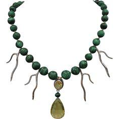 One-Of-A-Kind! Handmade Malachite Necklace with Lemon Quartz, Citrine... ❤ liked on Polyvore featuring jewelry, necklaces, lemon quartz necklace, lemon quartz jewelry, jewel necklace, sterling silver necklace and sterling silver jewellery