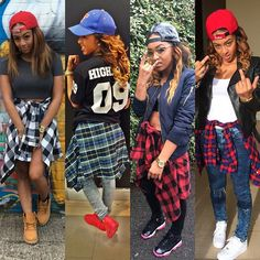 Paigey Cakey UK Female Rapper Pretty Girl Swag Dope Plaid Shirt Tied Around Waist Trend Streetwear Urban Fashion Style SnapBack Timberlands Air Max Forces Jordans Celebrity On Fleek Trill She dress dope!