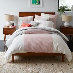Seersucker Oversized Plaid Duvet Cover + Shams - Red/Ink | west elm
