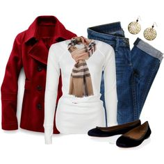Red Winter Jacket, Scarf, Denim and Flats