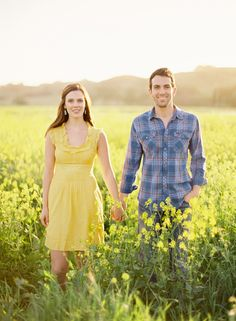 Field of flowers engagement session