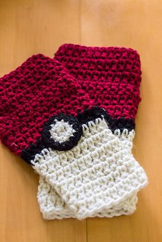 Ravelry: Pokeball Fingerless Gloves pattern by Mary Dickerson