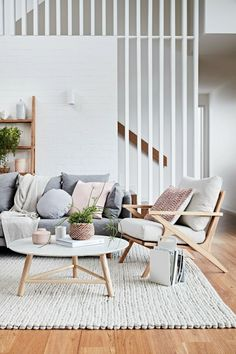 If you want a Scandinavian living room design, there are some things that you should consider and implement for this interior style. Wood as a material has an important role as well as light colors, because they give the living… Continue Reading → Living Room Interior, Home Living Room, Living Room Designs, Living Room Decor, Scandinavian Interior Living Room, Staircase In Living Room, Living Room With Grey Sofa, Modern Living Room Furniture, Neutral Living Rooms