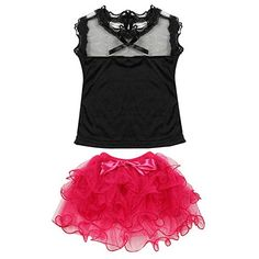 Weixinbuy Baby Girls Lace Sleeveless Top Rose Ruffled Tutu Skirt 34Y *** Want to know more, click on the image.
