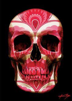 Red decorative motif Skull