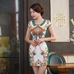 Elegant Reformed Cheongsam Mini Chinese Dress with Mascot Embroidery - iDreamMart.com