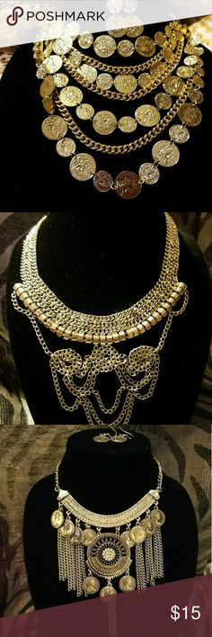 Gipsy style neckles the firt one is gold tone and the other silver with earring each one 15.00 Jewelry