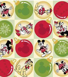 holiday inspirations fabric mickey vintage ornaments christmas fabricdisney - Disney Christmas Fabric