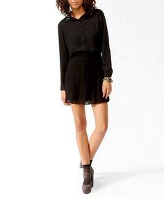 Pleated Contrast Waist Skirt   FOREVER21 - 2021839804