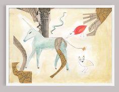 Unicorn Surrealist Collage Art Print by CapricornPress on Etsy