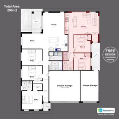 Discover our entire range of Dual Occupancy House Plans designed for the Perth metro area . From Single storey studio's to custom granny flats attached to the main home. We offer Double Storey and house behind house special purpose duplex style designs. Duplex Floor Plans, Home Design Floor Plans, Apartment Floor Plans, Plan Design, House Floor Plans, House Plans One Story, Best House Plans, Duplex Design, House Design