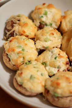 Cream Cheese Crab Stuffed Mushrooms.  Going to try these soon!! Brings a good twist on stuffed mushrooms an we love crab meat.
