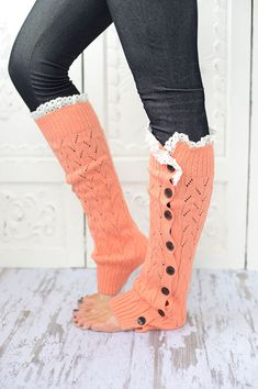 Lace Leg Warmers Coral Lacy Knitted Button Down Leg Warmers Boot Cuffs (LWK1) with Crochet Trim Button Up LegWarmers