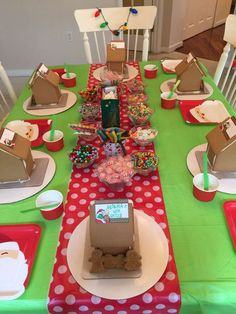 Gingerbread houses at a Grinch Christmas party! See more party ideas at CatchMyParty.com!