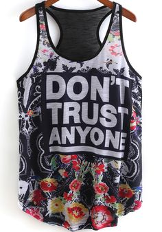 Black Scoop Neck Floral Letters Print Tank Top 8.99