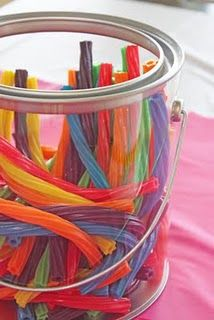 serve twizzlers in a clear bucket. So simple & fun!