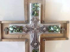 Decorative embellished handmade crosses with unique charm and style, vintage cross, wooden jeweled cross, wall cross, ornate wall cross