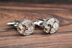 Clockwork cufflinks, watch movement Cuff links, Geeky formal wear, watch parts jewelry, groomsman jewellery, Steampunk Fashion