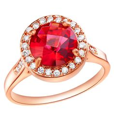 red crystal rosegold ring 40448