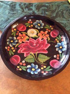 :D❤️Beautiful Flower Folk Art Floral Mexican Batea Vintage Wood Tole Bowl Tray #folkart #Mexico