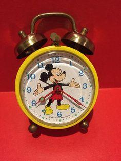 Vintage Mickey Mouse Phinney Walker Alarm Clock Walt Disney Collectible | eBay