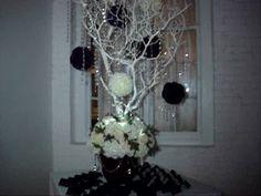 Manzanita Wishing Tree - Memory Tree in White & Plum at Don Coqui, New Rochelle NY Manzanita Centerpiece, Centerpiece Rentals, Bling Wedding Centerpieces, White Plum, New Rochelle, Memory Tree, Price Quote, Sweet 16, Winter Wonderland